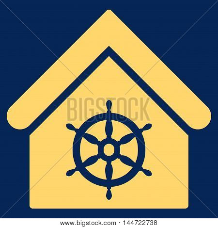 Steering Wheel House icon. Glyph style is flat iconic symbol, yellow color, blue background.