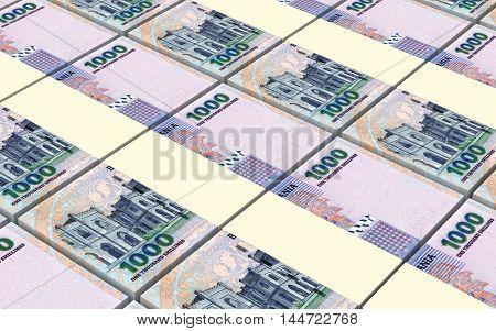 Tanzanian shilling bills stacks background. 3D illustration.