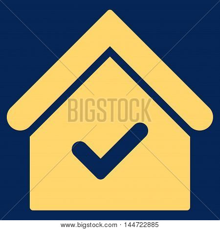 Valid House icon. Glyph style is flat iconic symbol, yellow color, blue background.