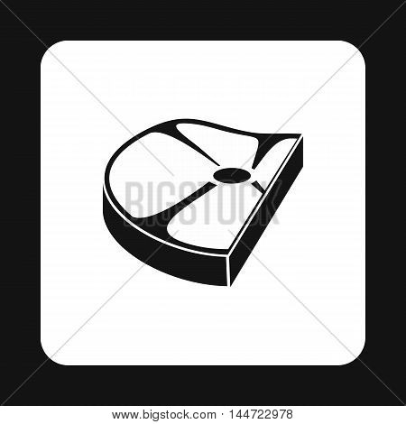 Piece of steak icon in simple style isolated on white background. Food symbol