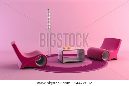 3D rendering of the pop-art interior scene