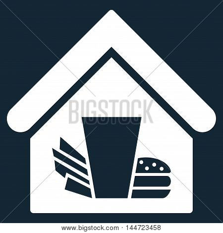 Fastfood Cafe icon. Glyph style is flat iconic symbol, white color, dark blue background.