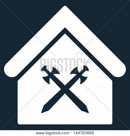 Guard Office icon. Glyph style is flat iconic symbol, white color, dark blue background.