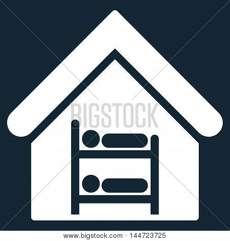 Hostel icon. Glyph style is flat iconic symbol, white color, dark blue background.