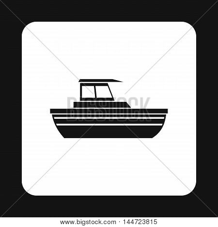 Motorboat with cabin icon in simple style isolated on white background. Sea transport symbol