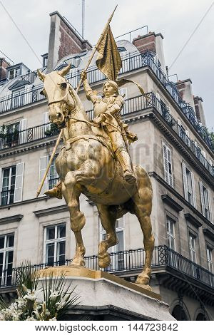 PARIS, FRANCE - MAY 12, 2015: This is the statue of Jeannje d'Arc at the Pyramides square.