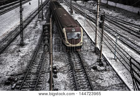 high-speed train arrives at the platform. top view