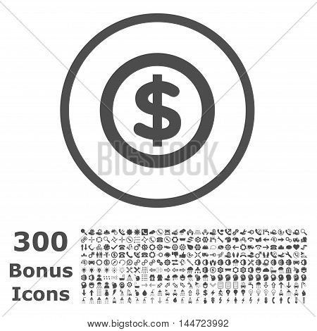 Finance rounded icon with 300 bonus icons. Vector illustration style is flat iconic symbols, gray color, white background.