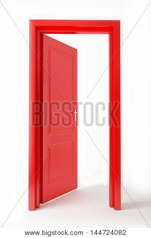 3D red opened door on white background