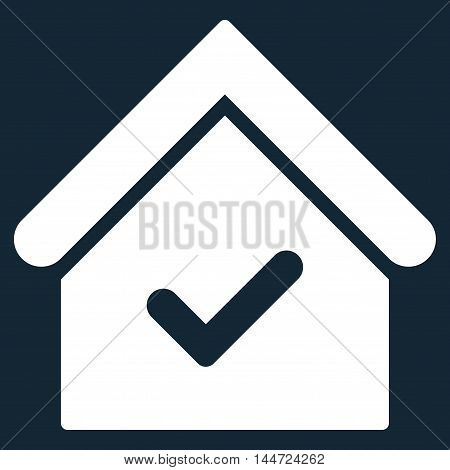 Valid House icon. Glyph style is flat iconic symbol, white color, dark blue background.