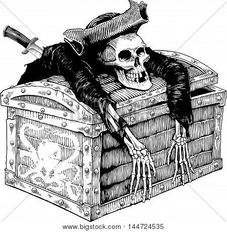 Black and white  drawing of pirate skeleton on chest