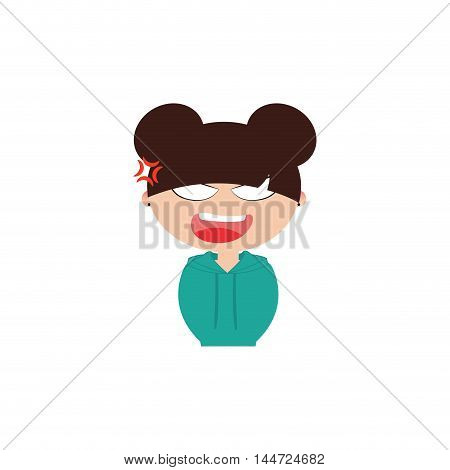 Cute girl with a particular expression face on a white background