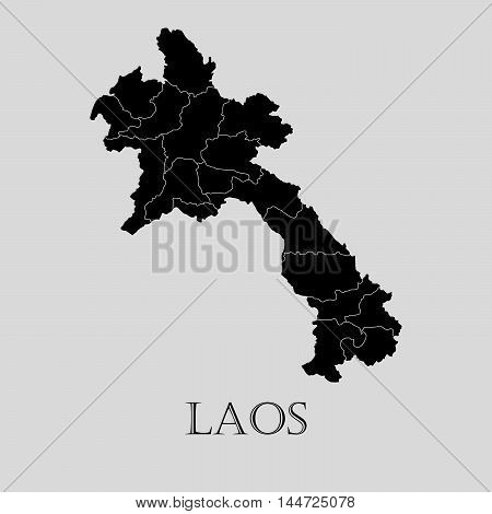 Black Laos map on light grey background. Black Laos map - vector illustration.