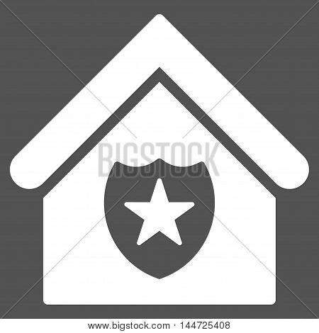 Realty Protection icon. Glyph style is flat iconic symbol, white color, gray background.
