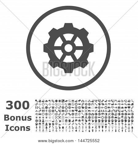 Gear rounded icon with 300 bonus icons. Vector illustration style is flat iconic symbols, gray color, white background.