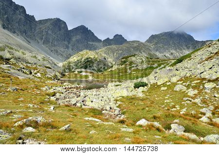 Summer mountain landscape. Beautiful valley and mountain peaks in High Tatra Slovakia.