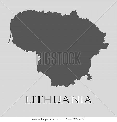 Simple gray Lithuania map on light grey background. Gray Lithuania map - vector illustration.
