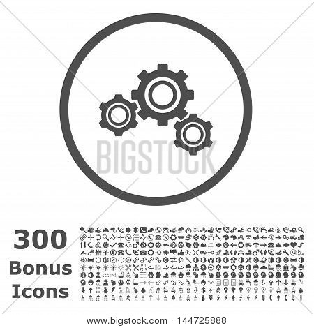 Gears rounded icon with 300 bonus icons. Vector illustration style is flat iconic symbols, gray color, white background.