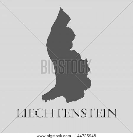 Simple gray Liechtenstein map on light grey background. Gray Liechtenstein map - vector illustration.
