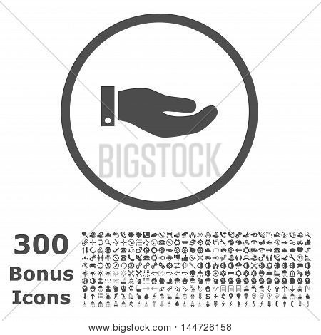 Hand rounded icon with 300 bonus icons. Vector illustration style is flat iconic symbols, gray color, white background.