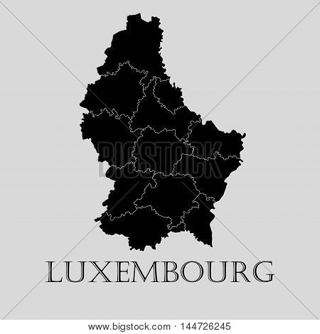 Black Luxembourg map on light grey background. Black Luxembourg map - vector illustration.