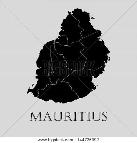 Black Mauritius map on light grey background. Black Mauritius map - vector illustration.