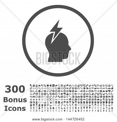 Headache rounded icon with 300 bonus icons. Vector illustration style is flat iconic symbols, gray color, white background.