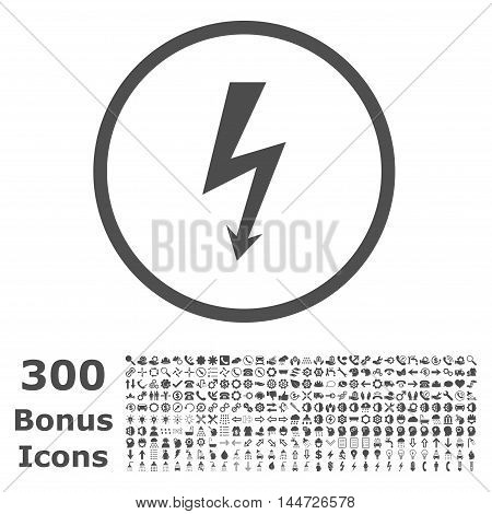 High Voltage rounded icon with 300 bonus icons. Vector illustration style is flat iconic symbols, gray color, white background.