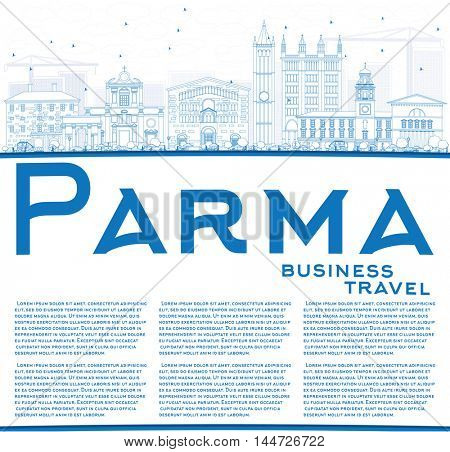 Outline Parma Skyline with Blue Buildings and Copy Space. Vector Illustration. Business Travel and Tourism Concept with Historic Buildings. Image for Presentation Banner Placard and Web Site.