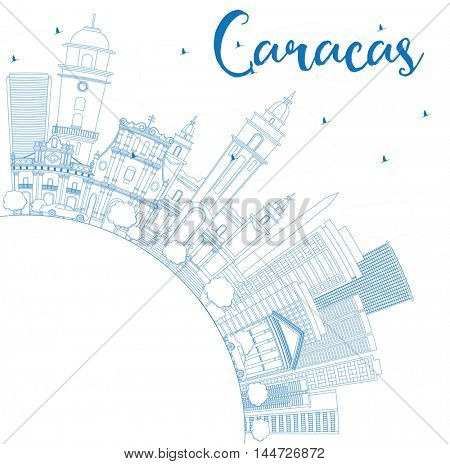 Outline Caracas Skyline with Blue Buildings and Copy Space. Vector Illustration. Business Travel and Tourism Concept with Historic Buildings. Image for Presentation Banner Placard and Web Site.