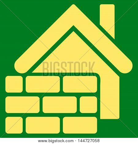 Realty Brick Wall icon. Glyph style is flat iconic symbol, yellow color, green background.