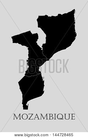 Black Mozambique map on light grey background. Black Mozambique map - vector illustration.