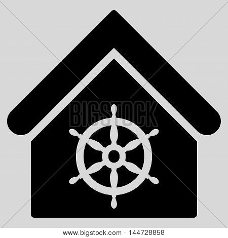 Steering Wheel House icon. Glyph style is flat iconic symbol, black color, light gray background.