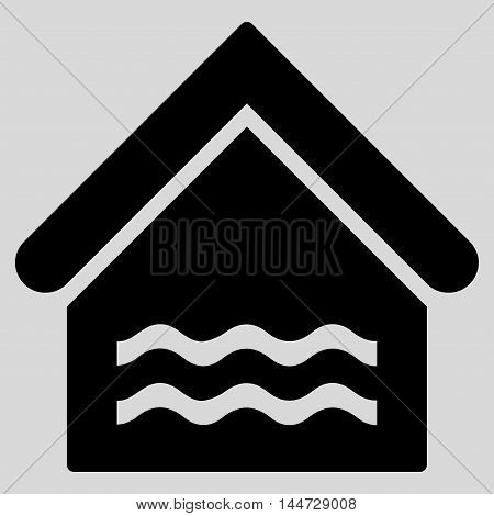 Water Pool icon. Glyph style is flat iconic symbol, black color, light gray background.