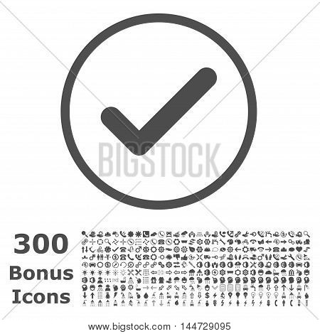 Ok rounded icon with 300 bonus icons. Vector illustration style is flat iconic symbols, gray color, white background.