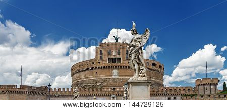 Sant'angelo castle in Rome and sculpture of an angel