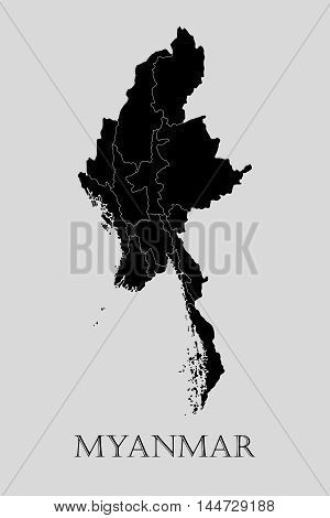 Black Myanmar map on light grey background. Black Myanmar map - vector illustration.