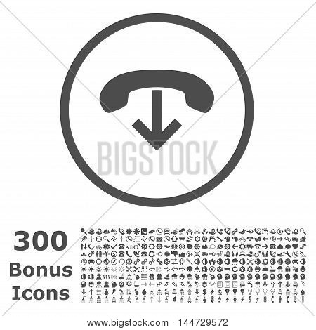 Phone Hang Up rounded icon with 300 bonus icons. Vector illustration style is flat iconic symbols, gray color, white background.
