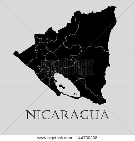 Black Nicaragua map on light grey background. Black Nicaragua map - vector illustration.