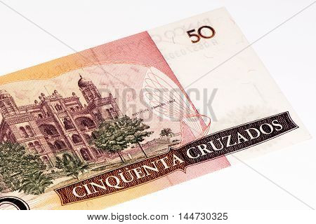50 Brasilian cruzados bank note. Cruados is the former currency of Brasil