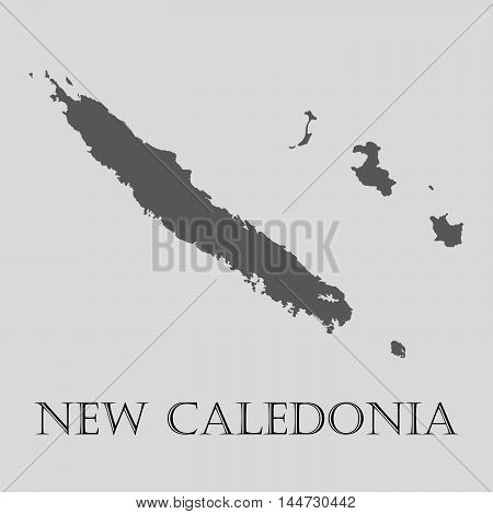Gray New Caledonia map on light grey background. Gray New Caledonia map - vector illustration.