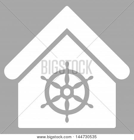 Steering Wheel House icon. Glyph style is flat iconic symbol, white color, silver background.
