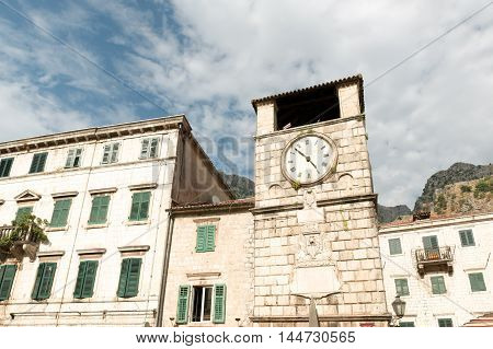 Medieval Clock Tower on main Square of Arms, Kotor, Montenegro