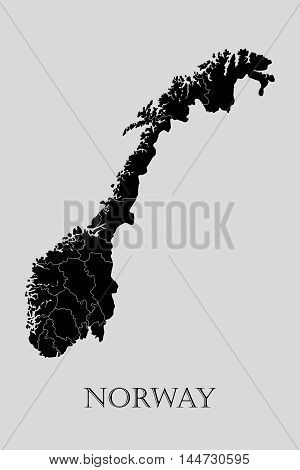Black Norway map on light grey background. Black Norway map - vector illustration.