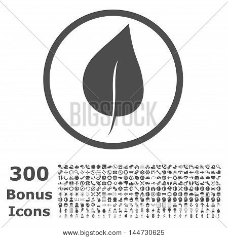 Plant Leaf rounded icon with 300 bonus icons. Vector illustration style is flat iconic symbols, gray color, white background.