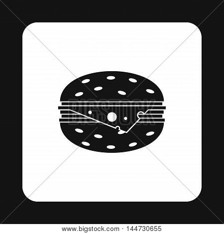 Cheeseburger icon in simple style isolated on white background. Fast food symbol