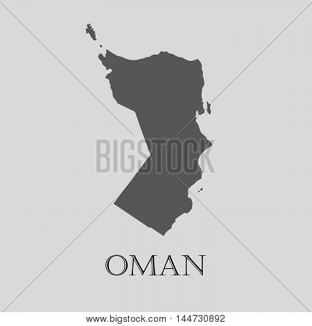 Gray Oman map on light grey background. Gray Oman map - vector illustration.