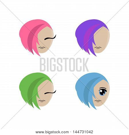 four symbols of girl with a hairstyle on a white background. It can be used as a logo or icon