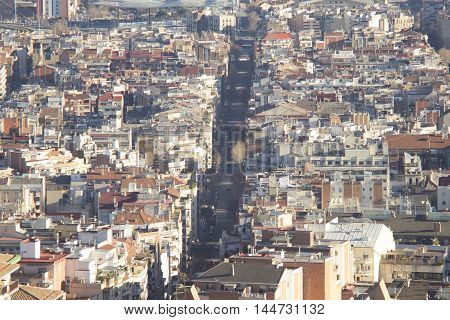 Barcelona panorama - city, panorama, barcelona, street, summer, architecture