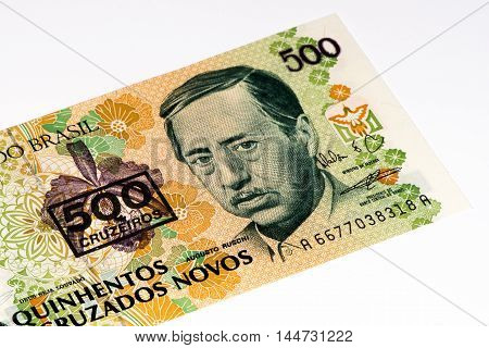 500 Brasilian cruzados novos bank note. Cruados is the former currency of Brasil
